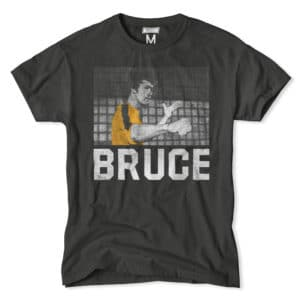 Bruce Lee throws a right punch on this grey tee.