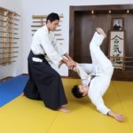 A martial arts master quickly flips his opponent on the mats