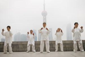 Tai chi can be practiced in a group or on your own.