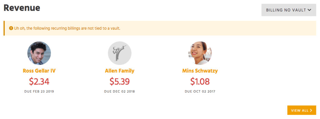 Revenue report of students that have billing with no vault item in Kicksite